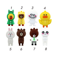 wholesale cartoon rabbit USB Flash Drive cartoon Pendrive  Line APP brown bear Sally duck Style 8GB 16GB 32GB 2.0 Memory Stick