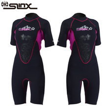 SLINX 3MM Neoprene Women Short Sleeve Wetsuits Diving Suit Wear-resisting Swimwear for Surf Kayak Snorkeling Boating Windsurfing