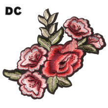 DC 2PCS Pink Red 3D Rose Flower Leaf Embroidery Patches For Clothing Iron fit Choker Necklace Hiar Jewelry DIY Making Findings