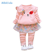 BibiCola Autumn Baby Girls Clothes Sets Kids Cute Cartoon Clothing Sets Toddler Princess Outfit Costume Children Girls Clothing(China)