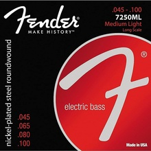 Fender 7250 Nickel Plated Steel Long Scale Bass Guitar Strings, 7250L 7250M, 7250ML, 7250HM