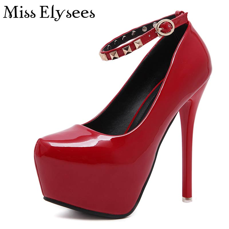 Solid Color Rivets Belt Strap Women High Heels Pumps Shoes 2017 Spring Patent Leather Sexy High Platform Women Wedding Shoes<br><br>Aliexpress