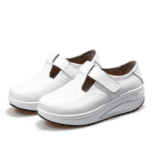 Women Ladies Full-grain Leather Swing Wedge Sneakers Shoes Slimming Walking Sports Shoes(China)