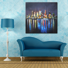 NEW!!Unframed Abstract Coloring Landscape New York City Night View in River Oil Painting On Canvas Modern Home Wall Decor(China)