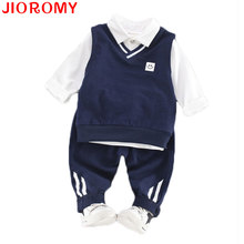 JIOROMY Autumn Boys and Girls Vest + T Shirt + Pants 3 Pcs/set Fashion College Style School Uniform Suit Navy Smile Face Apparel(China)