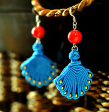 Handmade fabric statement  peacock dangle earrings New Original  Ethnic jewelry Chinese wind r traditional earrings,