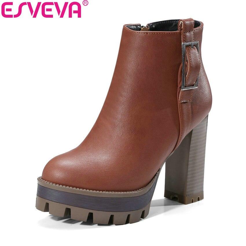 ESVEVA 2018 Western Style Women Boots Black Square High Heel Warm Fur Ankle Boots Platform 2.5cm Zippers Ladies Boots Size 34-42<br>