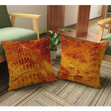 Retro Italy Leaning Tower Decorative Pillow Case Vintage Yellow Antique Landmark Sofa Cushion Cover Pillowcase Home Decor(China)