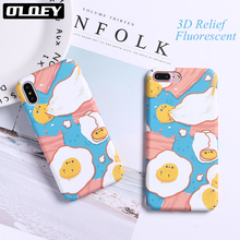 OLOEY Funny Cartoon Fired Egg Case For iphone7 6 Case For iphone 8 8Plus Phone Cases Fashion Cute Hard PC Cover Capa Fundas(China)