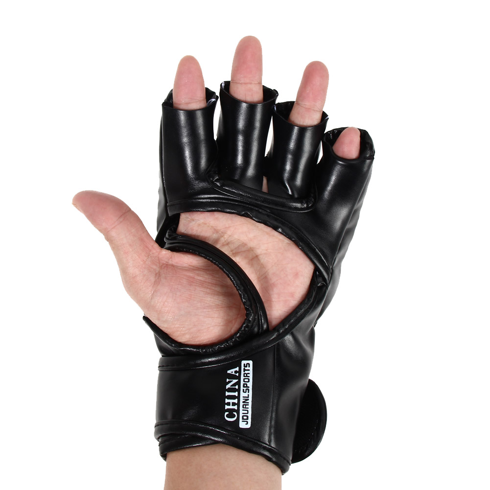 Boxing Gloves MMA Gloves Muay Thai Training Gloves MMA Boxer Fight Boxing Equipment Half Mitts PU Leather Black/Red 10