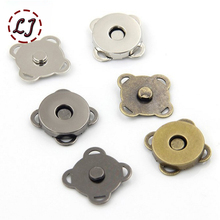 High quality 10sets/lot black silver sew on metal magnetic Snaps button for overcoat bag garment accessories scrapbooking DIY(China)