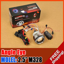 hot sale motorcycle BI-Xenon HID kit  M328 Angel Eye Projector Lens Universal H4 H1 H7 for free shpping