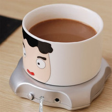 USB Gadget Desktop Tea Coffee Cup Mug Warmer Heater Pad with 4 Port USB Hub for PC Laptop Chocolate(China)