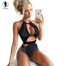 Buy ALINRY sexy bodysuit women black mesh transparent embroidery short rompers jumpsuit summer backless sleeveless halter overalls