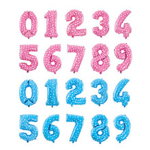 Pink Blue Number Foil Balloons Birthday Party Digit Ballons Wedding Decor Baloons Christmas Holiday Supplies 16 inch number(China)