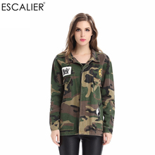 ESCALIER Fashion Army Green Printed Camouflage Jacket Chaquetas Mujer Women's patchwork Denim Spring Autumn Wide-waisted Jacket(China)