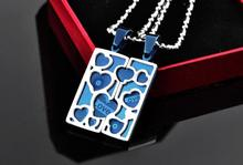 10pcs/lot lovers blue square heart 316L Stainless Steel pendant necklaces Never fade jewelry  wholesale