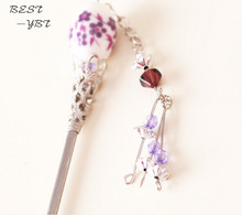 Metal + ceramic bead with flower hairpin hair accessories for hair / fashion hair acessories