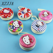 Hello Kitty Tin Plate Zipper Package Earphone Wire Organizer Box Data Line Cables Storage Box Case Container Organizer Coin Box