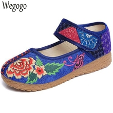 Wegogo Women Shoes Thai Boho Cotton Linen Canvas Flats Cloth National Handmade Embroidered Woven Round Toe Soft Shoes Woman(China)