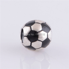 Authentic 925 Sterling Silver Soccer Ball Sports Bead with Black Enamel Charm Bead Fits For European style Bracelets & Necklaces