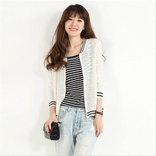 2017 Baseball Jacket Female Spring And Summer Cardigan Sweater Hollow Out Thin Knit Sweater Women Basic Coat Wc91101