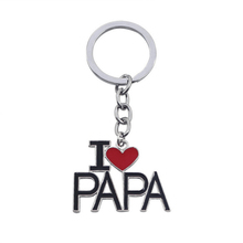 LNRRABC Alloy Metal Silver Color I Love papa mom Pendents Key Ring Key Chain Gift For Women Girls Keychain Jewelry Accessories(China)