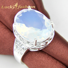 Fashion High Quality Classic Wedding Jewelry Moonstone Engagement Crystal Rings For Lovers' Silver Plated  In stock