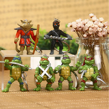 6pcs Teenage Mutant Ninja Turtles Keychain Creative Office Decoration resin doll keychain Pokemon Anime toy for Children's Gift
