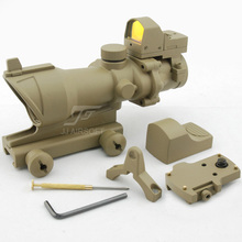 JJ Airsoft ACOG Style 4x32 Scope with Docter Mini Red Dot Light Sensor (Tan) FREE SHIPPING