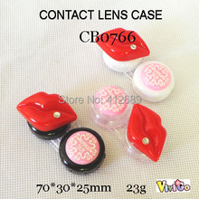 free shipping CB0766 sexy big red lips diamond DECO contact lens case lens holder