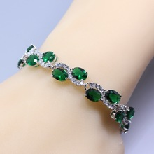 Fashion Health 925 Silver Women Jewelry Green Created Emerald  White  Chain-Link Bracelet Length 20CM Free Gift Box S50