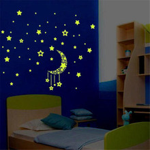 Moon Star Fluorescence Noctilucent Night Glow in Dark Luminous Vinyl Removable Nursery Kids Child Bedroom Wall Stickers Nov19