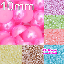 100pcs 10mm Many Color Flatback Beads ABS Resin Flatback Half Round Pearl Flatback Cabochon Beads Jewelry DIY Decoration B1784(China)