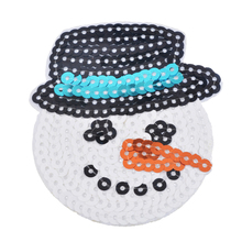 FUNIQUE 5Pcs/Set Snowman Patches Sequin Applique Embroidery Patches Motif Appliques Garment DIY Accessories Christmas Decoration