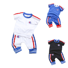 Summer Boys Sport Sets Basketball Sutis Kids Football Sets 0-4T Baby Boys Outwear O-Neck Short Sleeve T-shirt and Pants Outfit