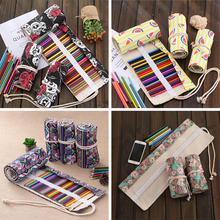 2016 Colorful National Style Pencil Case Stationery Box Estojo Portable Canvas Pen Roll Up Bag For School Penalties  04868-4