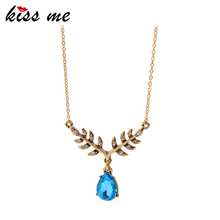 KISS ME Luxury Blue Water Drop Crystal Necklaces & Pendants Brand Party Jewelry Women Accessories