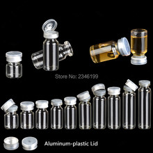 100pcs D22mm Clear Glass Bottle Test Tube With Aluminum-Plastic Butyl Rubber Cap Medical Liquid Seal Bottles Empty Packaging(China)