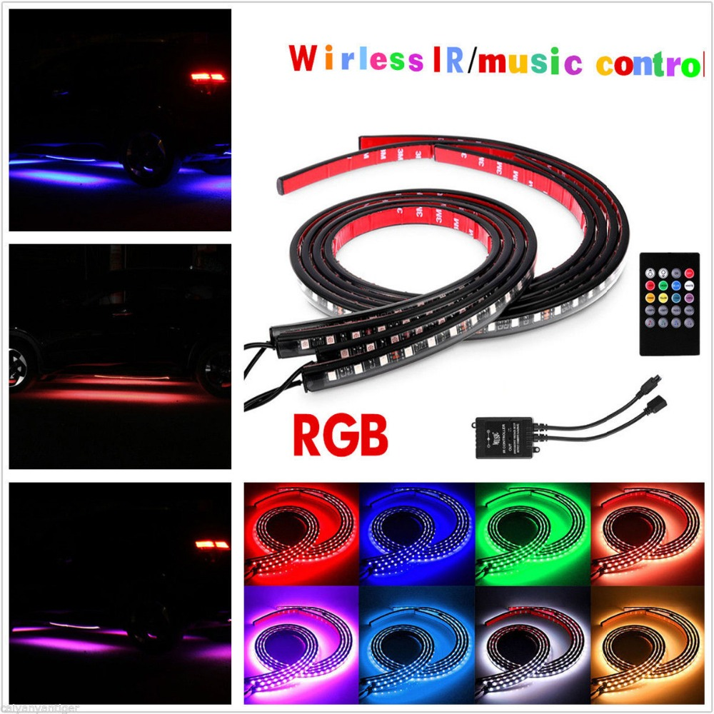 12V 7Color Music Control RGB LED Under Car Glow Underbody Neon Lights Kit+Remote<br>