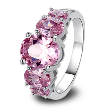 lingmei New Fashion Jewelry AAA Silver Color Ring Pink CZ Exquisite Gift For Women Size 6 7 8 9 10 11 12 13 Wholesale Free Ship