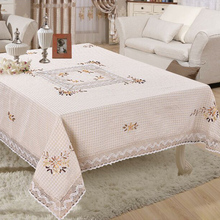 Polyester White Weave Handmade Lace Tablecloth Square Table Cloth For Wedding Party table covers home decoration 150*220cm LS001