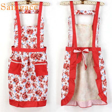 Korean Princess Aprons Double Widening Strap Rose Waterproof Aprons Flower tabliers pour enfants delantales para ninos #5