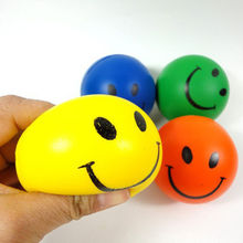 Smile Face Print Squeeze Antistress Ball Hand Wrist Exercise PU Rubber Stress Balls Outdoor Toy Kids Children Gifts Dia 6.3cm