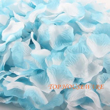 1500pcs Silk Rose Petals fabric rose petal Wedding Favor Festival Decoration Hand Throwing Flower light blue+white