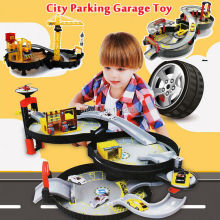 2-3 Storey Portable Wheel Track Station Engineer City Parking Garage Toy Tire Parking Orbit  Spiral Roller Rail Alloy Vehicles