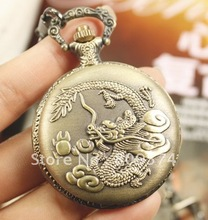 wholesale buyer price good quality fashion lady girl women quartz new bronze dragon pocket watch necklace with chain(China)