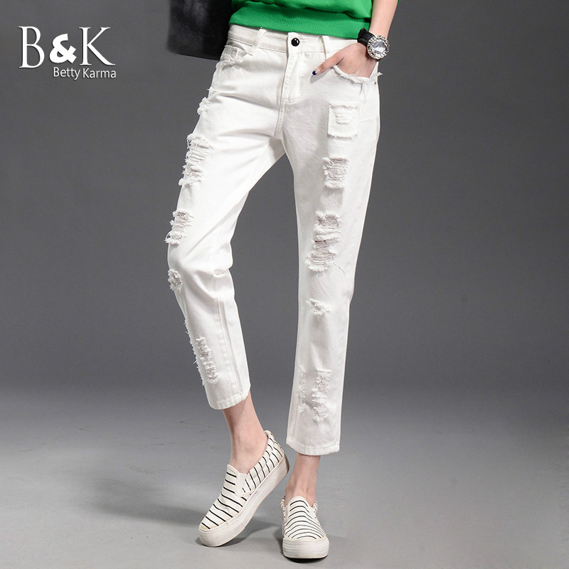 White Jeans Women Pencil Pants Pantalon Femme Casual Loose Boyfriend Jean Students Fashion Ankle Lehigh Ripped Jeans Female 2017Îäåæäà è àêñåññóàðû<br><br>