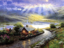 Thomas Kinkade cottage painting print on canvas for home wall art decoration,free shipping(China)