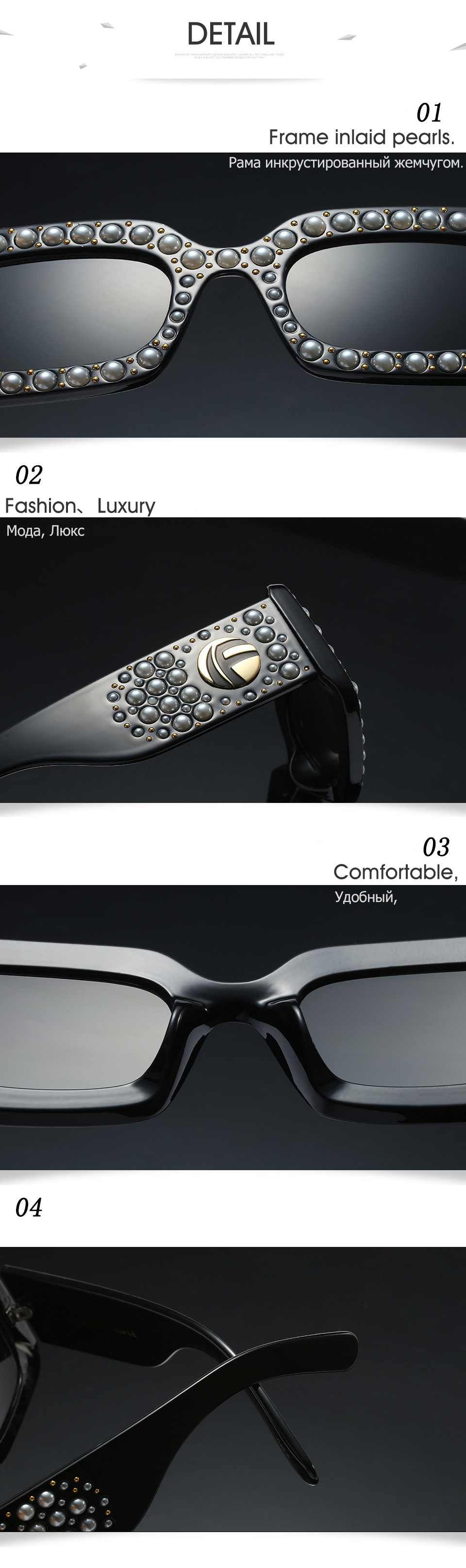 2018 Luxury Italy Brand Pearl Rivet Frame Sunglasses GG Women Sun Glasses Square Ladies Eyewear mujer feminino logo Top quality